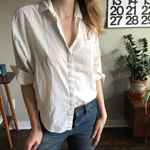 LOFT White/Ivory Pinstripe Boxy Button-up Shirt